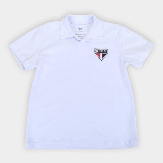 Camisa Polo Juvenil São Paulo Retrô Mania - Branco