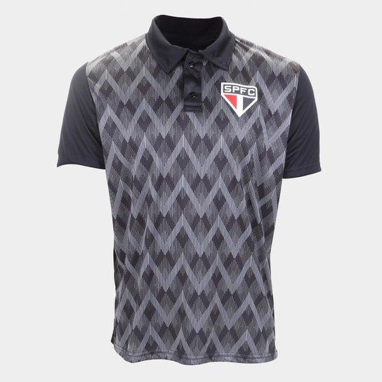 Camisa Polo São Paulo Kaye Masculina - Preto