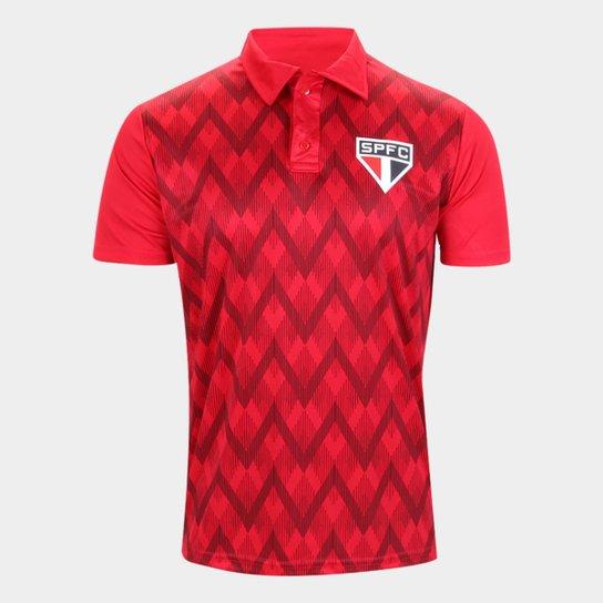 Camisa Polo São Paulo Kaye Masculina - Vermelho