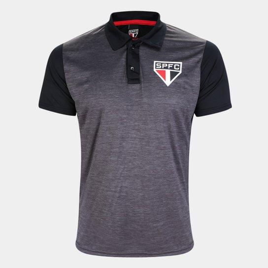 Camisa Polo São Paulo Mescla Masculina - Preto