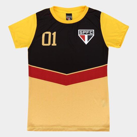 Camisa São Paulo 100 Gols Feminina - Amarelo