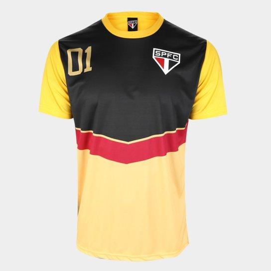 Camisa São Paulo 100 Gols Masculina - Dourado+Preto