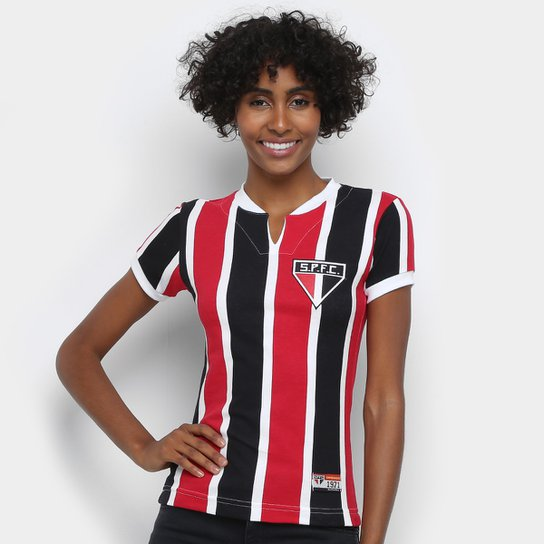 Camisa São Paulo 1971 Retrô Mania Feminina - Preto+Vermelho