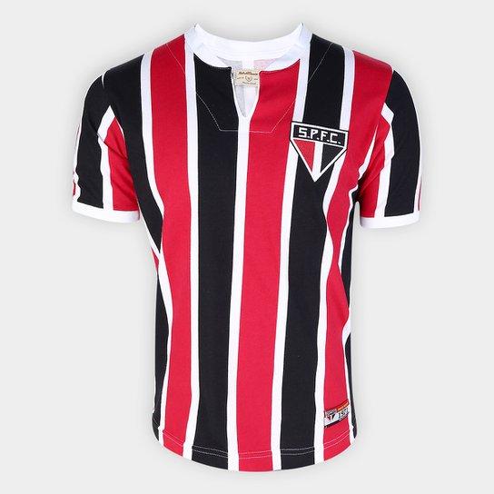 Camisa São Paulo 1971 Retrô Mania Masculina - Preto+Vermelho