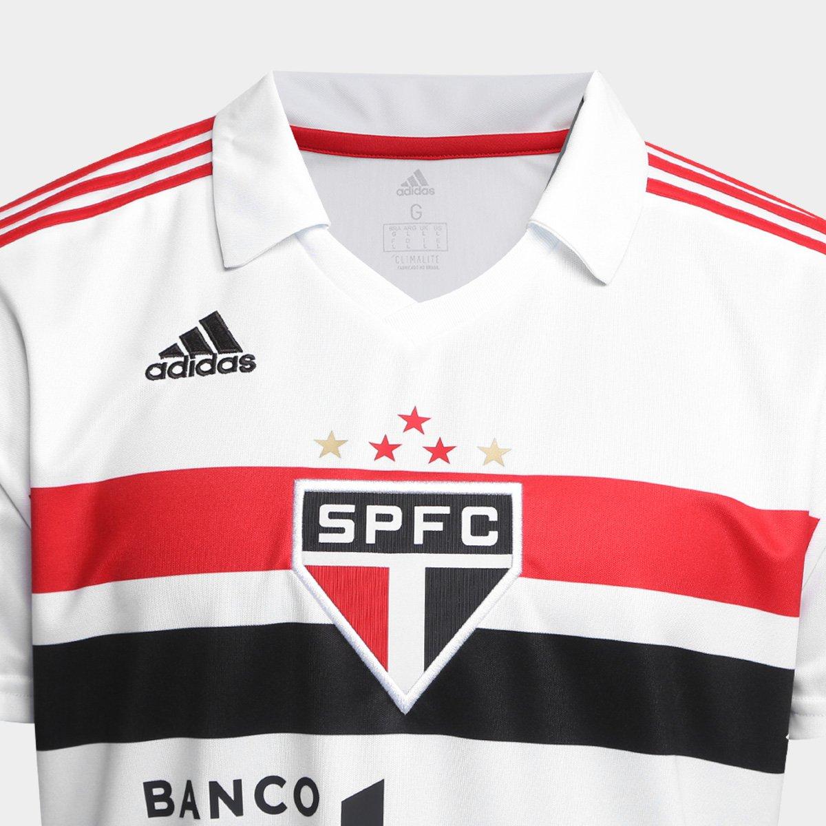 ebc22c5c3b Camisa São Paulo I 2018 s n° Torcedor Adidas Masculina - Branco e ...