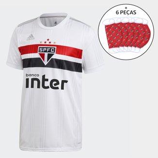 Camisa São Paulo I 20/21 s/n° c/ Patrocínio Torcedor Adidas Masculina + Kit de Máscaras