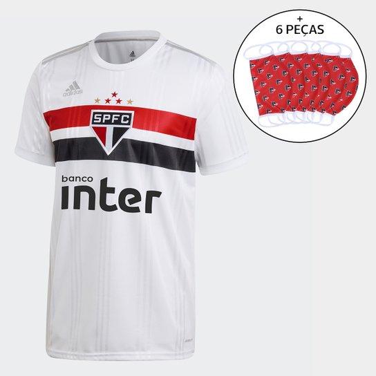 Camisa São Paulo I 20/21 s/n° c/ Patrocínio Torcedor Adidas Masculina + Kit de Máscaras - Branco+Vermelho