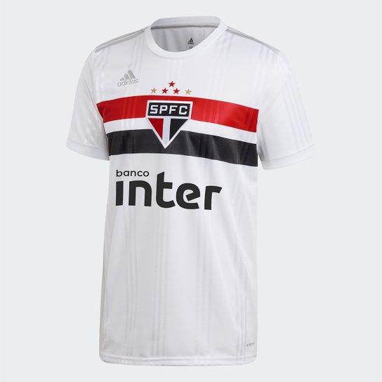Camisa São Paulo I 20/21 s/n° c/ Patrocínio Torcedor Adidas Masculina - Branco+Vermelho
