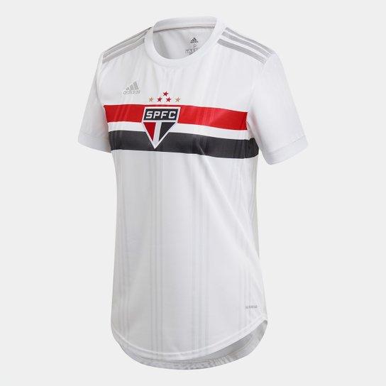 Camisa São Paulo I 20/21 s/n° Torcedor Adidas Feminina - Branco+Vermelho