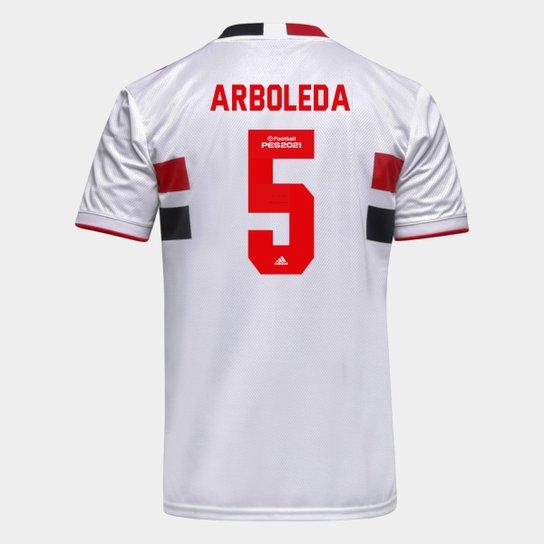 Camisa São Paulo I 21/22 Arboleda Nº 5 Torcedor Adidas Masculina - Branco+Vermelho