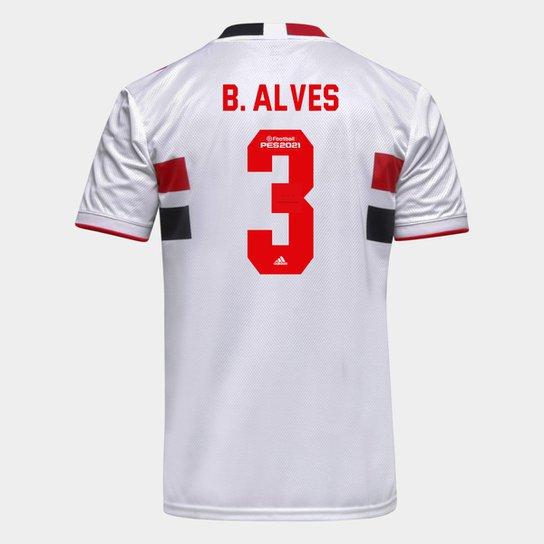 Camisa São Paulo I 21/22 B. Alves Nº 3 Torcedor Adidas Masculina - Branco+Vermelho
