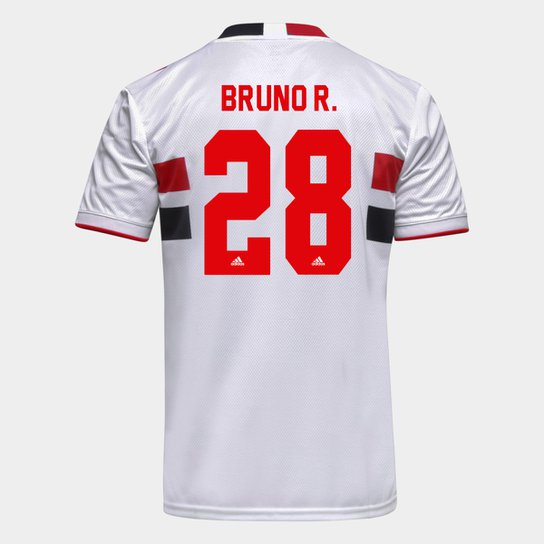 Camisa São Paulo I 21/22 Bruno R. Nº 28 Torcedor Adidas Masculina - Branco+Vermelho