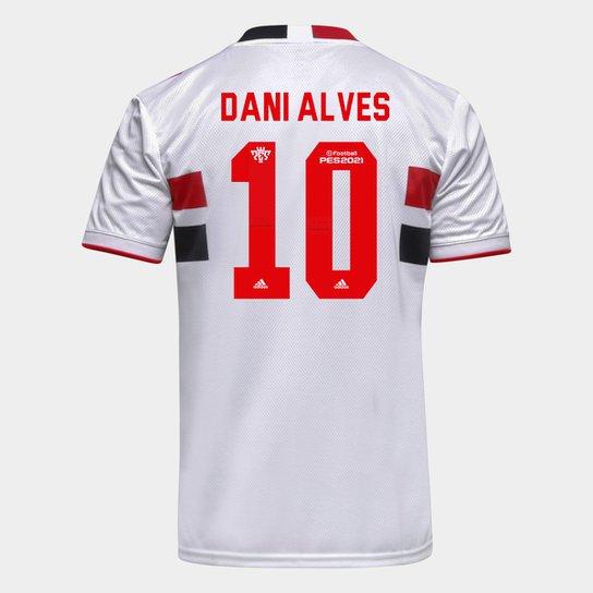 Camisa São Paulo I 21/22 Dani Alves Nº 10 Torcedor Adidas Masculina - Branco+Vermelho