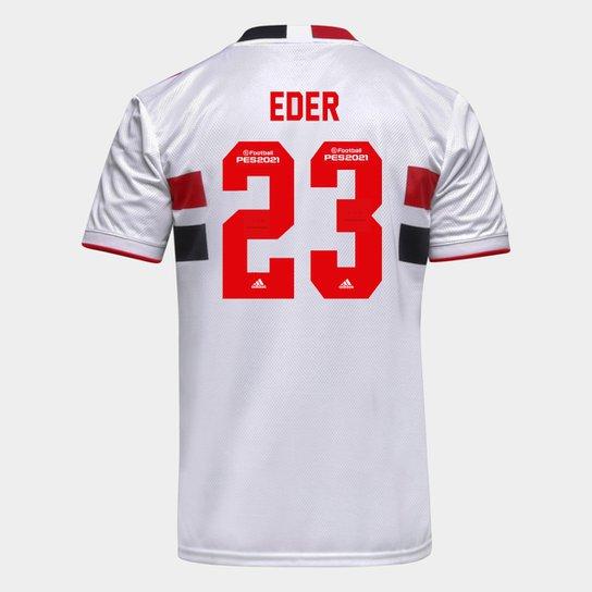 Camisa São Paulo I 21/22 Eder Nº 23 Torcedor Adidas Masculina - Branco+Vermelho