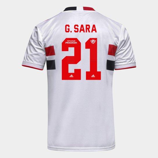 Camisa São Paulo I 21/22 G. Sara Nº 21 Torcedor Adidas Masculina - Branco+Vermelho