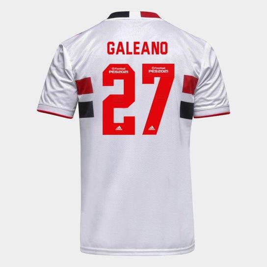 Camisa São Paulo I 21/22 Galeano Nº 27 Torcedor Adidas Masculina - Branco+Vermelho