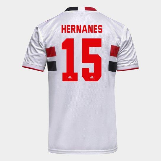 Camisa São Paulo I 21/22 Hernanes Nº 15 Torcedor Adidas Masculina - Branco+Vermelho