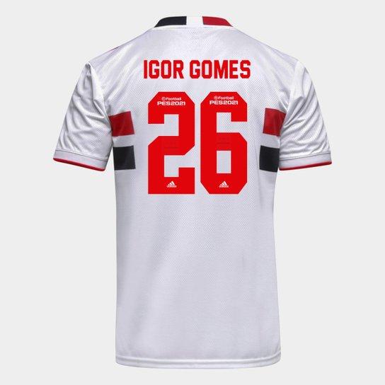 Camisa São Paulo I 21/22 Igor Gomes Nº 26 Torcedor Adidas Masculina - Branco+Vermelho
