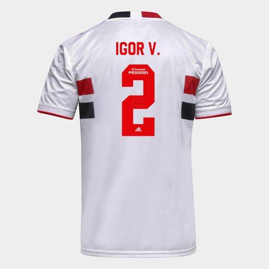Camisa São Paulo I 21/22 Igor V. Nº 2 Torcedor Adidas Masculina - Branco+Vermelho