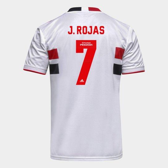 Camisa São Paulo I 21/22 J. Rojas Nº 7 Torcedor Adidas Masculina - Branco+Vermelho