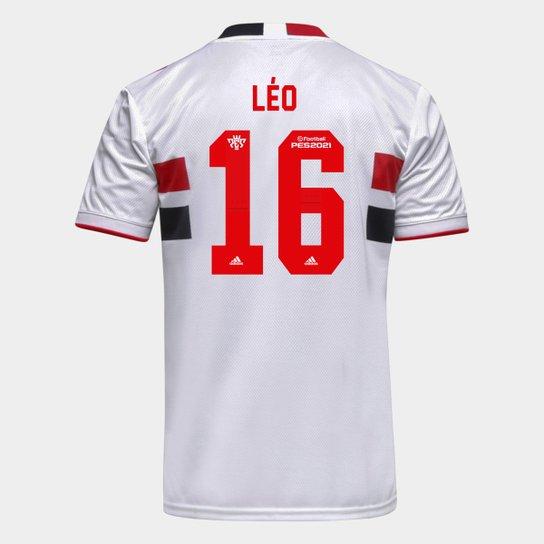 Camisa São Paulo I 21/22 Léo Nº 16 Torcedor Adidas Masculina - Branco+Vermelho