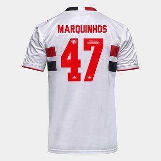 Camisa São Paulo I 21/22 Marquinhos Nº 47 Torcedor Adidas Masculina