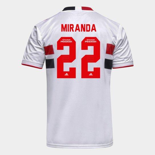 Camisa São Paulo I 21/22 Miranda Nº 22 Torcedor Adidas Masculina - Branco+Vermelho