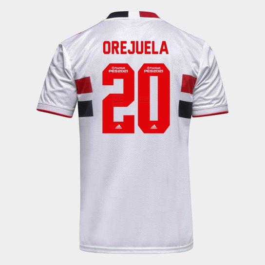 Camisa São Paulo I 21/22 Orejuela Nº 20 Torcedor Adidas Masculina - Branco+Vermelho