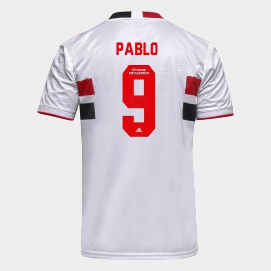 Camisa São Paulo I 21/22 Pablo Nº 9 Torcedor Adidas Masculina - Branco+Vermelho