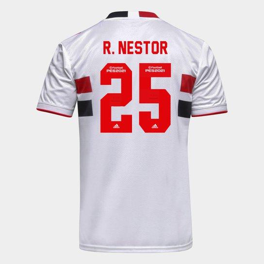 Camisa São Paulo I 21/22 R. Nestor Nº 25 Torcedor Adidas Masculina - Branco+Vermelho