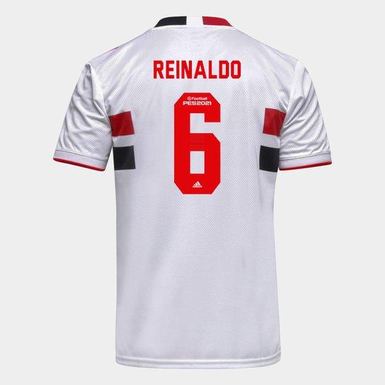 Camisa São Paulo I 21/22 Reinaldo Nº 6 Torcedor Adidas Masculina - Branco+Vermelho