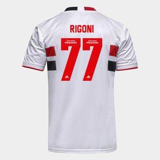 Camisa São Paulo I 21/22 Rigoni Nº 77 Torcedor Adidas Masculina