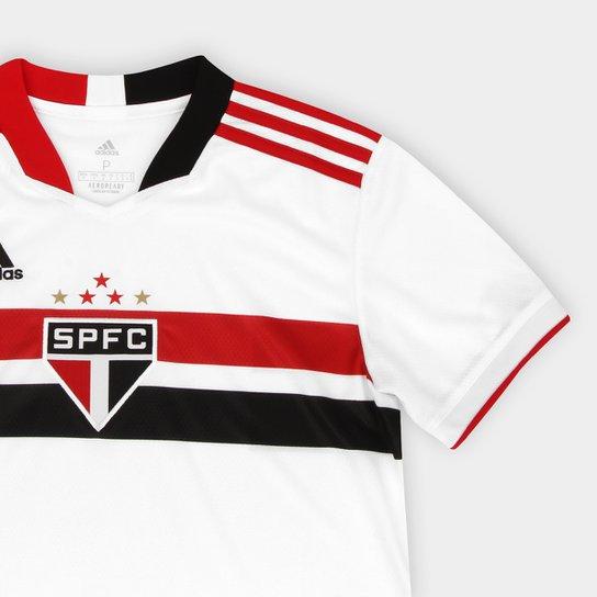 Camisa São Paulo I 21/22 s/n° Torcedor Adidas Feminina - Branco+Vermelho