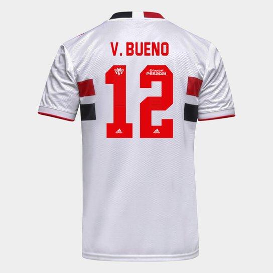 Camisa São Paulo I 21/22 V. Bueno Nº 12 Torcedor Adidas Masculina - Branco+Vermelho