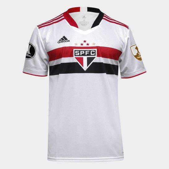 Camisa São Paulo I Libertadores 21/22 s/n° Torcedor Adidas Masculina - Branco+Vermelho