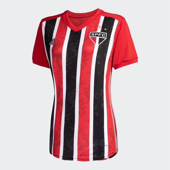 Camisa São Paulo II 20/21 s/nº Torcedor Adidas Feminina - Vermelho+Branco