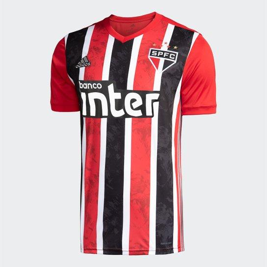 Camisa São Paulo II 20/21 s/nº Torcedor c/ Patrocínio Adidas Masculina - Vermelho+Branco