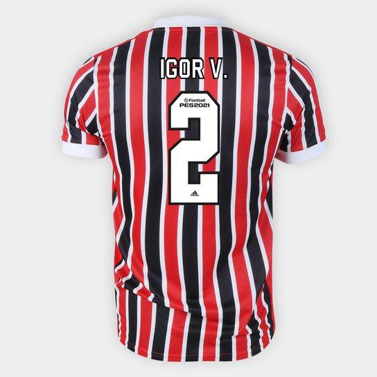 Camisa São Paulo II 21/22 Igor V. Nº 2 Torcedor Adidas Masculina - Vermelho+Branco
