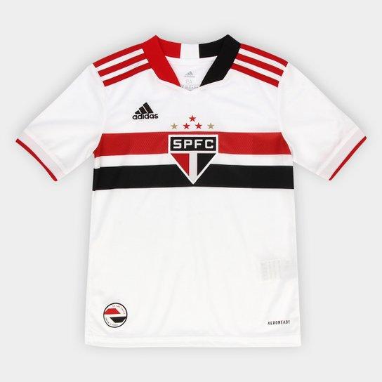 Camisa São Paulo Juvenil I 21/22 s/n° Torcedor Adidas - Branco+Vermelho