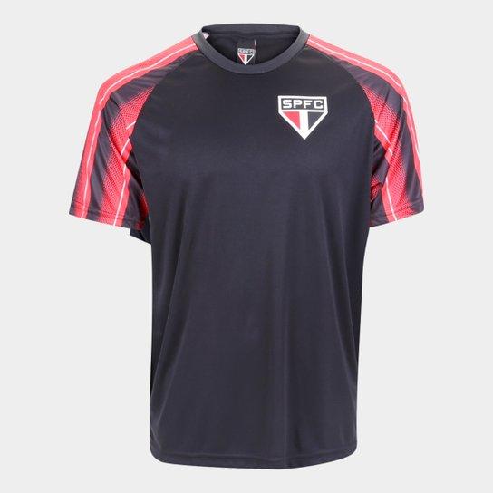 Camisa São Paulo Raglan Classic Masculina - Preto