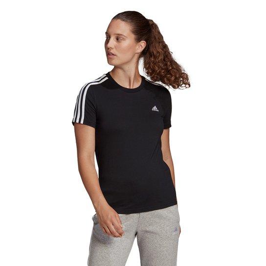 Camiseta Adidas 3 Listras Feminina - Preto+Branco