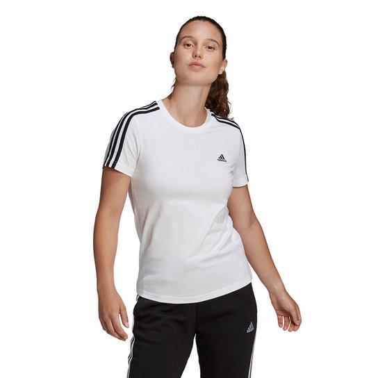 Camiseta Adidas 3 Listras Feminina - Branco+Preto