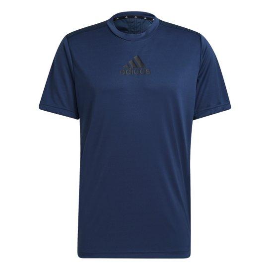 Camiseta Adidas 3 Stripes Designed To Move Masculina - Azul+Preto