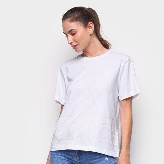 Camiseta Adidas Big Logo Vazado Feminina - Branco+Rosa