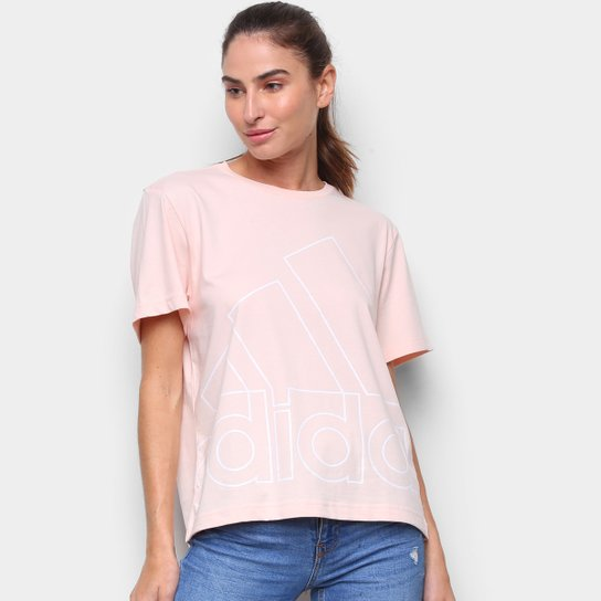 Camiseta Adidas Big Logo Vazado Feminina - Rosa+Branco