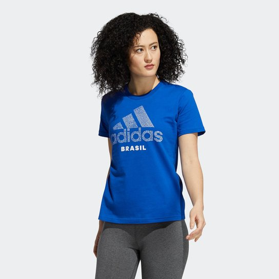 Camiseta Adidas Brasil Feminina - Azul Royal