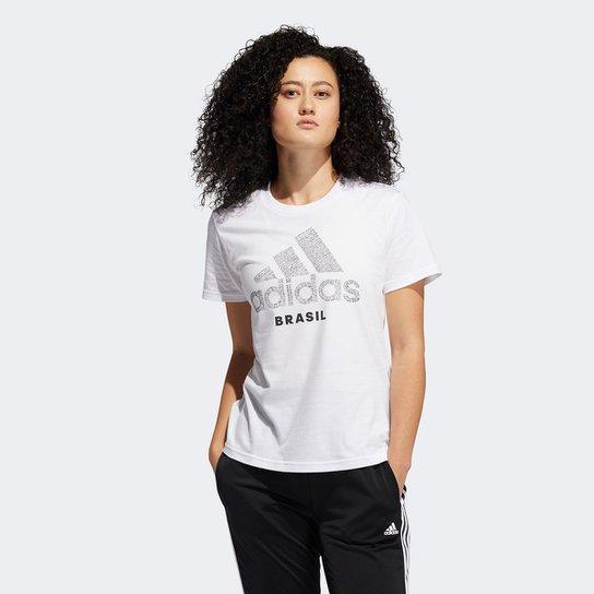 Camiseta Adidas Brasil Feminina - Branco