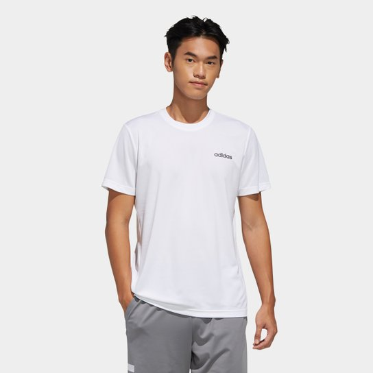 Camiseta Adidas D2M Ar Plain Masculina - Branco+Preto