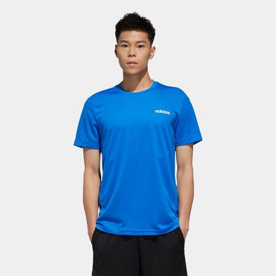 Camiseta Adidas D2M Ar Plain Masculina - Azul+Branco