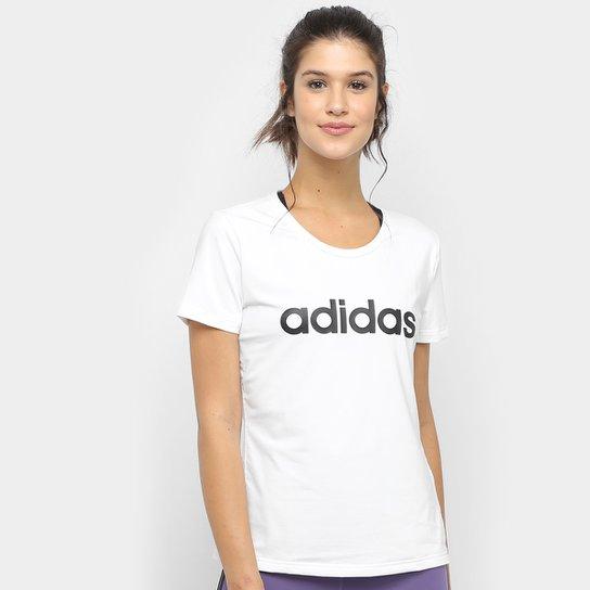 Camiseta Adidas D2M Logo Feminina - Branco+Preto